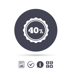 40 percent discount sign icon sale symbol vector image vector image