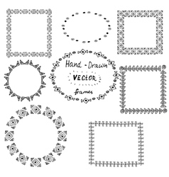 Set of circle polynesian tattoo styled frames vector