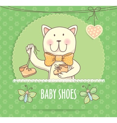 Baby shoes banner with cat vector