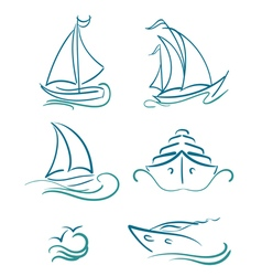 Yacht and sailboats symbols vector