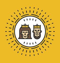 Portrait of Queen and King Line Art vector image