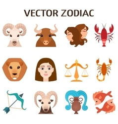 Zodiac signs colorful silhouettes horoscope vector