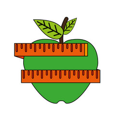 Apple and measuring tape weight loss related icon vector