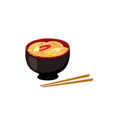 Asian noodle soup in bowl and couple of chopsticks vector