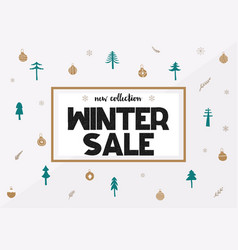 Big winter sale coupon with black calligraphy font vector