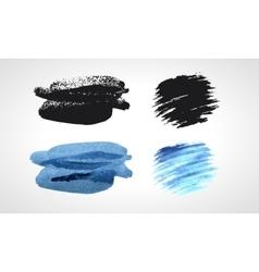 Black and blue grunge hand drawn blobs set vector image vector image