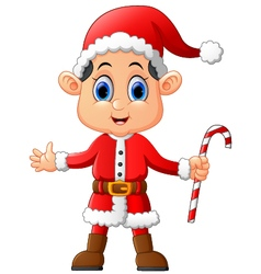 Cartoon kid wearing santa costume vector