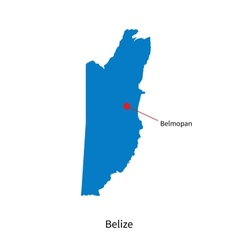 Detailed map of Belize and capital city Belmopan vector image vector image