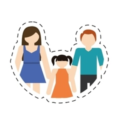 Family mother father daughter together cut line vector