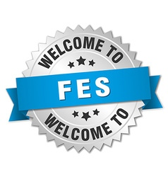 Fes 3d silver badge with blue ribbon vector