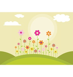 Flowers on a hill vector image vector image