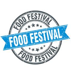 food festival round grunge ribbon stamp vector image