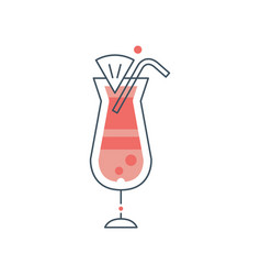Glass of hurricane cocktail with drinking straw vector
