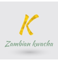 Golden symbol of zambian kwacha vector