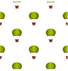 Green hot air balloon pattern seamless vector
