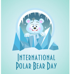 Greeting card polar bear day vector