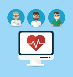 Hospital doctors computer icon image vector