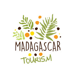 Madagascar tourism logo template hand drawn vector
