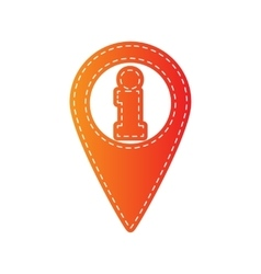 Map pointer with information sign orange applique vector