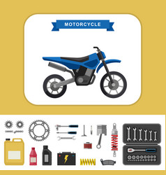 Motorcycle with parts in flat style vector