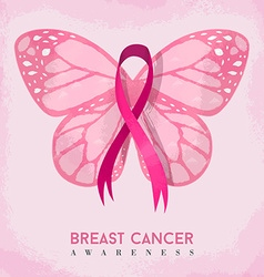Pink butterfly with ribbon for breast cancer vector image