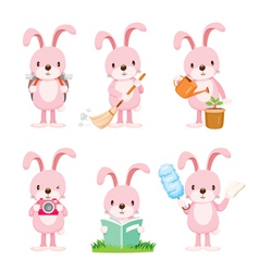 Pink Rabbit Actions Set vector image vector image