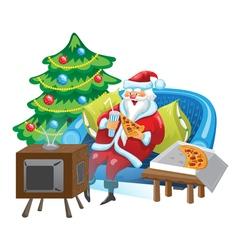 Santa and tv vector