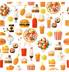 seamless pattern with fast food and drink vector image vector image