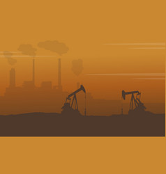 Silhouette of construction with pollution industry vector