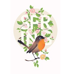 Spring banner with a bird vector