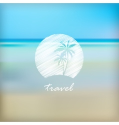 summer holidays label in beach blurred background vector image