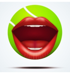 Tennis ball with a talking female mouth vector