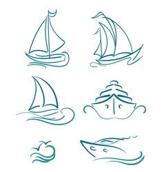 yacht and sailboats symbols vector image