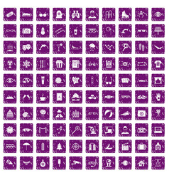 100 glasses icons set grunge purple vector image vector image