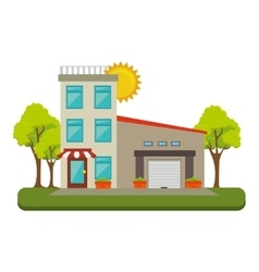 Exterior cute house icon vector