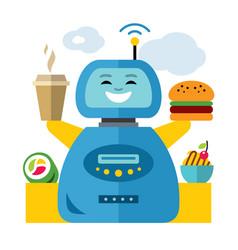 robot waiter flat style colorful cartoon vector image