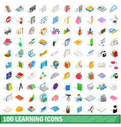 100 learning icons set isometric 3d style vector image