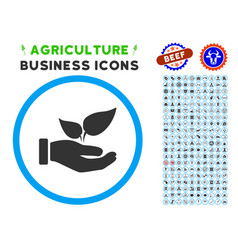 Eco startup hand rounded icon with set vector