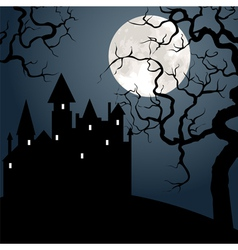 Castle and tree at night vector