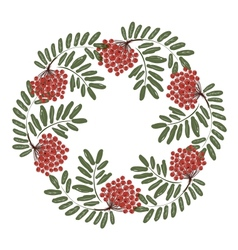 Rowan branch with berries frame for your design vector