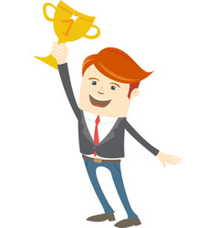 Happy office man holding the cup vector image