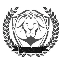 Grunge lion head emblem vector image