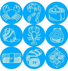 Seafood round blue icons vector