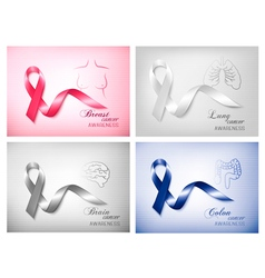 Four banners with different cancer awareness vector image