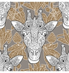 Giraffe head seamless pattern beige background vector