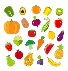 Organic fruits and vegetables outline style icons vector