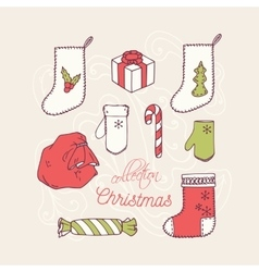 Christmas holiday decoration icons collection vector
