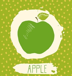 Apple hand drawn sketched fruit with leaf on blue vector