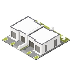 One storey connected cottage with flat roof vector