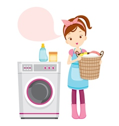Girl with washing machine vector